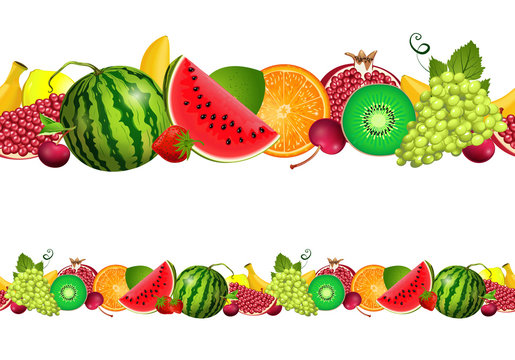 seamless border of fruit