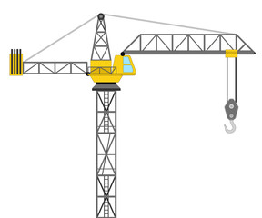isolated builder crane side view drawing vector