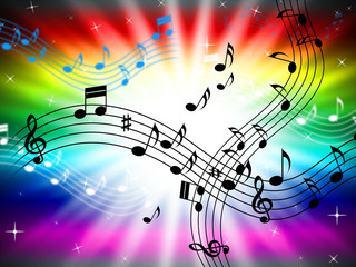 Sunrays Color Shows Bass Clef And Audio