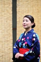 浴衣を着た日本人女性のポートレート