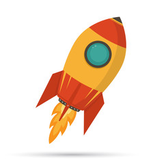 Cosmic rocket in flat design on white background.