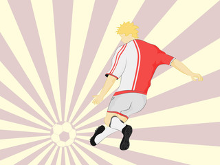 red dress football player shooting on striped background vector