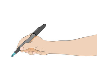 isolated human hand side view holding pen writing vector