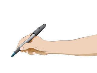 isolated human hand side view holding pen vector