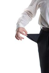 man's hand turns empty pocket