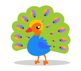 Cute baby peacock cartoon