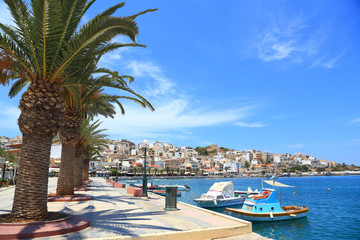 Cityscape with seaside and boats Sitia Crete