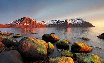 Wall Mural - Sunset in Norwegian coast, Senja