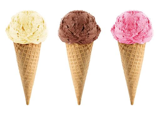 Chocolate, vanilla and strawberry Ice Cream