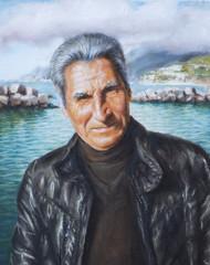 dipinto di un uomo con giubbotto di pelle nera