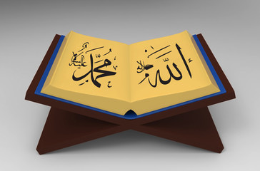 3d Quran and Lectern - isolated
