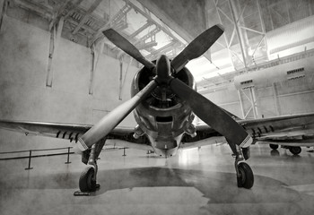 Wall Mural - Old airplane in a hangar
