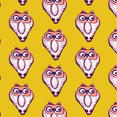 Seamless pattern background of owl