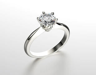 Golden Engagement Ring with Diamond or moissanite. Jewelry backg