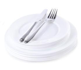 Set of white dishes isolated on white
