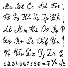 vector real hand calligraphic Alphabet