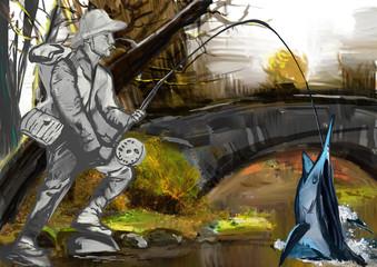 Fisherman (digital painting)