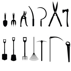 Black icons of garden tools. Raster