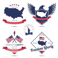 Fourth of July : Independence day badge and label