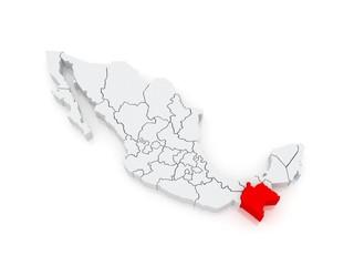 Map of Chiapas. Mexico.