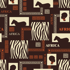 Seamless pattern with skin of zebra and ethnic simbols.