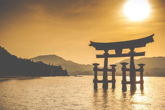 Miyajima,Famous big Shinto torii in Japan.