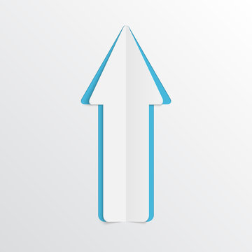 White paper arrow. Vector illustration.