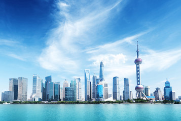 Fotomurales - Shanghai skyline and sunny day