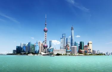 Fototapete - Shanghai skyline and sunny day