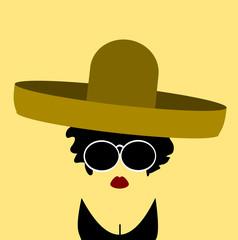 woman with large sunglasses wearing sombrero and bikini top
