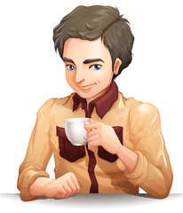 A handsome businessman holding a cup of tea