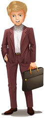 A businessman holding a bag
