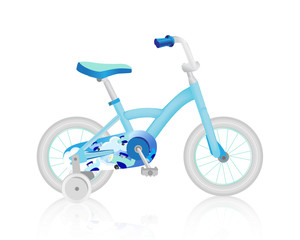 Realistic light slate blue baby bike. Vector