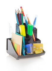 Office supplies in a support