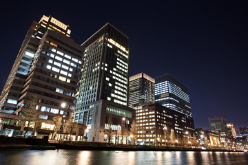 Night view of Office building in Tokyo business area