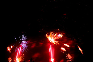 Golden orange amazing fireworks isolated