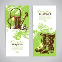 Set of sketch gardening banner templates. Hand drawn vintage ill