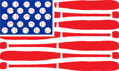 American flag made of bats and balls. Vector