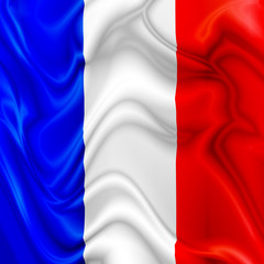 France waving silk Flag