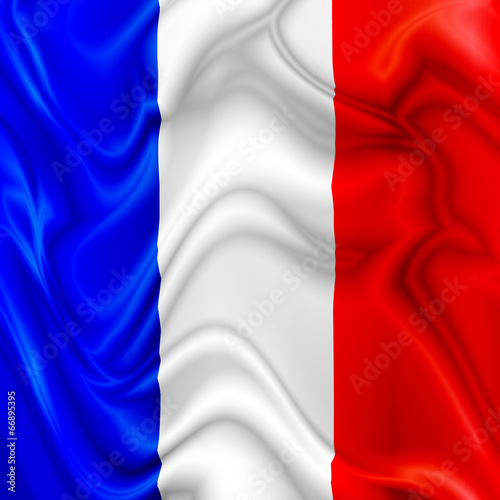 France waving silk Flag