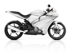 3D Image of a White Modern Motorbike