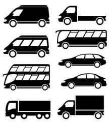 set transport icon on white background
