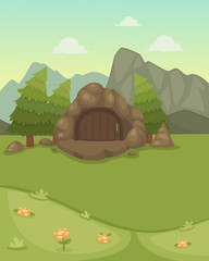 landscape with cave vector
