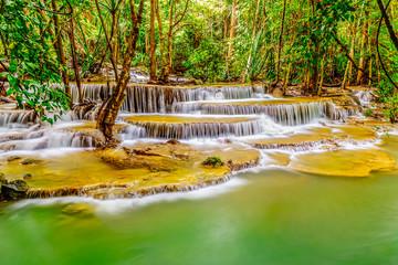 Erawan Waterfall in Kanchanaburi  Deep forest Waterfall