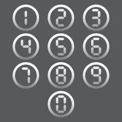 Vector of transparent icon, digital number set