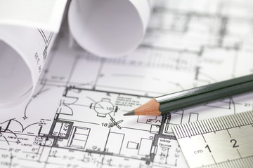 Wall Mural - Architect rolls and plans construction project drawing