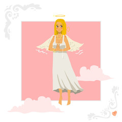 Angel girl greeting card.