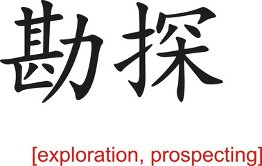 Chinese Sign for exploration, prospecting