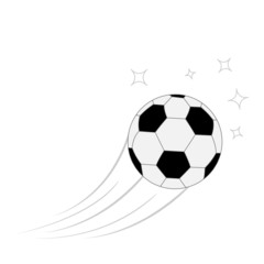 Flying football soccer ball with motion trails and stars. Flat