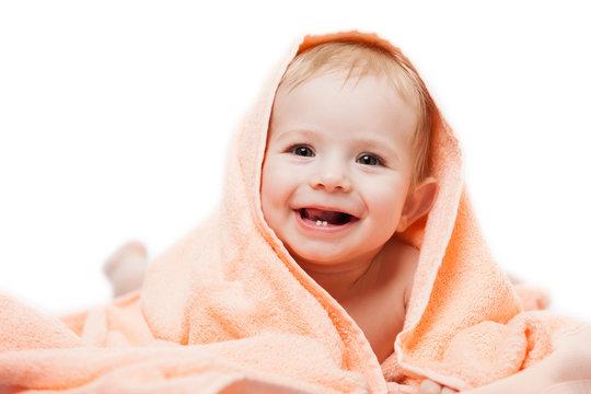 Little cute newborn baby child